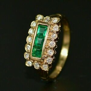 14k Yellow Gold Over 1.50 Ct Princess Cut Green Emerald Cluster Wedding Ring