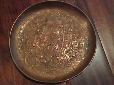 Antique Copper Handmade Ornate Persian/Arabic/Islamic Wall Plate Belly Dancer