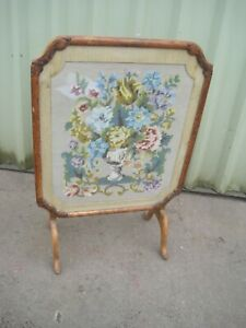 Stunning VICTORIAN Antique FOLDING FIRE SCREEN Table TAPESTRY Wood WOODEN Floral