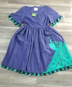 Kate Spade Deep Sea Plume Poplin Dress Size 10