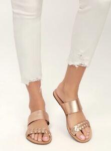 Lulu's Caylee Rose Gold Nappa Leather Slide Sandals Handmade in Brazil!