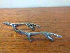 2 Vintage Antique Silver Plated Dog Knife Rests