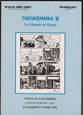 Catalogue Vente aux enchères BD. Tintinomania 5. Le monde de Hergé.