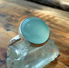 Aqua Chalcedony Ring 925 Sterling Silver Ring Meditation Ring All Size CK-74