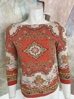 Charter Club Orange Beige 3/4 Sleeve Jacquard Blouse Top Small Size PP