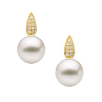 Luminous AAA White Hanadama Akoya Pearl Diamonds Stud Earrings 18k Yellow Gold