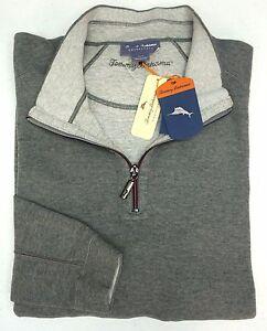 NWT Tommy Bahama 1/4 Zip Reversible Sweater Mens Gray