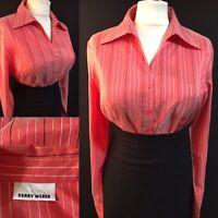 GERRY WEBER Women's UK 16 Blouse Shirt Career Work Smart Top Coral Silk Autumn