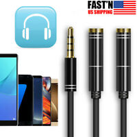 3.5mm Audio Mic Y Splitter Cable Cord Headphone Adapter Female to 2 Male Black