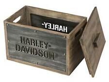 Harley-Davidson Wooden Storage Box w/ Lid - Stainless Steel Laser Cut HDL-18587