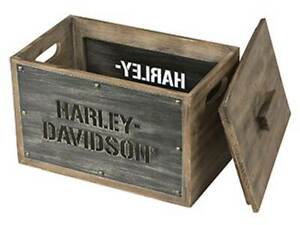 Harley-Davidson Wooden Storage Box w/ Lid - Stainless Steel Laser Cut HDL-18587