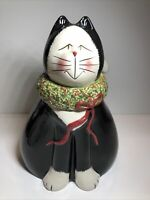 "Holidays Sakura Earthenware Christmas Cats Fiddlestix 11"" Cookie Jar Super Cute"