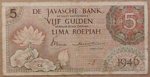 Netherlands Indies 5 Gulden / Roepiah, Javasche Bank, 1946, P-88, 3 letter pref