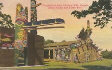 Postcard Thunderbird Park Victoria BC Canada Indian Houses + Totem Poles