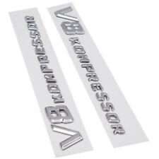 Set of Chrome Side Fender Sticker Emblem Badge V8 Kompressor For Mercedes-Benz