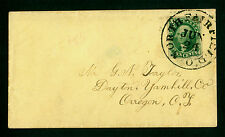 US 1856  WASHINGTON 10c green Type III  Sc# 15 XF used on cover to Oregon