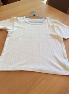 boys clothes 11-12 years Rebel White Cotton Ribbed Short Sleeved Top T-shirt