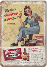 """1943 Sonia Gover Rheingold Beer Ad 10"""" x 7"""" Reproduction Metal Sign E234"""