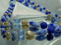 FABB Vintage 50's Stunning Blue Art Glass Japan Signed Two Strand Necklace 912N0