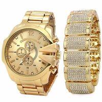 Men's 14k Gold PT Iced Hip Hop Fashion Dome Fully Cz Bracelet & Watch Wrist Link
