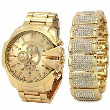 Men's 14k Gold PT Iced Hip Hop Fashion Dome Fully Cz Bracelet & Watch Wrist Link