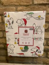 Pottery Barn Kids PEANUTS Twin Organic Flannel Sheets Snoopy Christmas Holiday