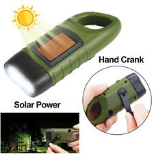 3 LED Solar Powered Hand Crank Flashlight Rechargeable with Clip Emergency Light