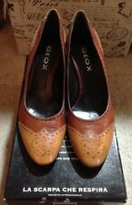 New GEOX Respira D Best P D5385P Nappa Cognac Brown Tan Leather Pumps / Heels