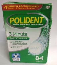 Polident 3-Minute Daily Cleanser Antibacterial Denture Cleanser, 84 Tablets