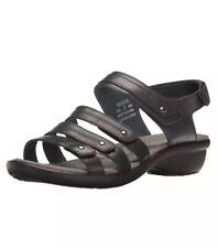 Propet Women's Aurora Sandals Strappy Slingbacks Black Leather 6.5W Wide NWT