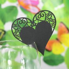 Lot 50 Marque Place Coeur Mariage Carte de Nom Art Déco Verre Table Noir