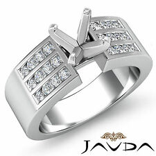 Diamond Engagement 3 Row Round Channel Ring 18k White Gold Semi Mount 0.31Ct