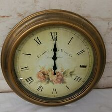 "Edinburgh Clock Works Company Floral Rose 16"" Indoor Wall Clock Vintage Look"