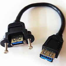 0.14m USB A V3.0 Female to Socket Coupler/Joiner Patch Cable–Panel Mount Adapter
