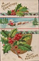 Antique Christmas New Year Postcard NASH Santa Sleigh Reindeer Embossed Bells