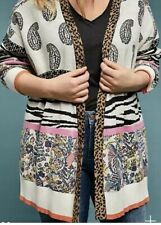 New Anthropologie BRICOLAGE Sz 2X Ivory Multicolor Animal Print Paisley Cardi