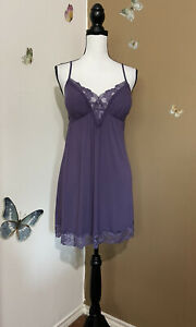 Victoria's Secret Purple Lace Lingerie Padded Nightie Slip Modal Sz L NWT $49