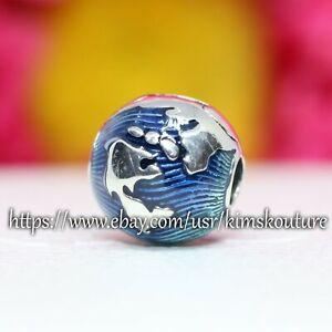 Authentic Pandora Sterling Silver Blue Globe 799429C01 Clip Charm