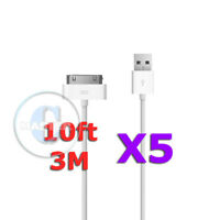 5X WHITE XL LONG 3M/10FT USB CHARGE SYNC CABLE for APPLE iPOD iPHONE 4 4S iPAD 2