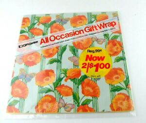Vtg Wrapping Paper Gift Wrap OOP Christmas Happy Birthday Vintage Sealed Flowers