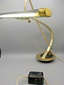 Vtg Mid Century Modern Cannon Products Desk/Piano Lamp Sleek Harp Weighted Base