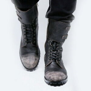 Mens Punk Round Toe Mid Calf Boots Retro Buckle Zip Motorcycle Knight Club Shoes