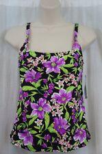 Island Escape Tankin Top Sz 8 Purple Multi Floral Print Swimsuit P760618