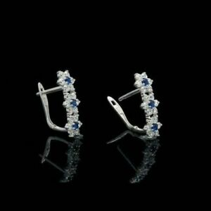 1.25Ct Blue Sapphire & Diamond Pretty Stud Flower Earrings 14k White Gold Finish