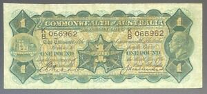 1927 One Pound General Prefix (Fine) Riddle/Heathershaw Australia note