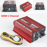 12V Mini Hi-Fi 500W 2CH Channel Stereo Audio Amplifier Amp Subwoofer Car Vehicle