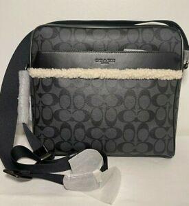 NWT COACH Charles Camera Crossbody Messenger Bag Shearling F35612 Logo Black$395