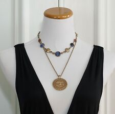 Vintage Lucky Brand Multi-Layer Mayan/Aztec Lapis Medallion Necklace Layered