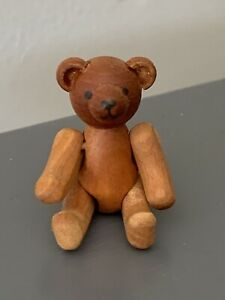 BODO HENNIG DOLLHOUSE Miniature Jointed Wood Teddy Bear Vintage Rare Cute NR