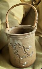 Pottery With Rattan handle, blossoms on tree, Handmade, Signed John? Pit???